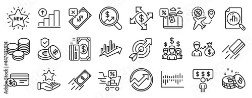Fotografiet Set of Finance icons, such as Payment, Travel loan, Sallary icons