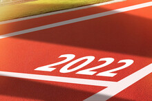 Red Running Track With New Year 2022 Concept