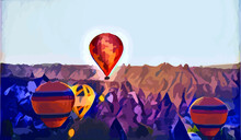 Landscape Painting Colorful In Hot Air Balloon On Mountain And Blue Sky Cloud And Meadow With Wallpaper Or Postcard Paint Background Very Cool