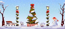 Winter Holidays Christmas Landscape, Street Decorations In Snow. Vector White Snowy Trees, Decorated Lanterns With Garlands And Red Bow, New Year Tree With Toys, Snowman In Red Hat, Bench And Fence
