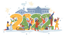 New Year People, 2022 Numbers, City House, Celebration At Street. Vector Flat Cartoon Man And Woman Decorating Christmas Tree, Hanging Garlands, Walking With Dog Pet, Making Snowman. Xmas Eve
