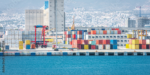 Warehouse and shipping container carriers at the port of Limassol, Cyprus