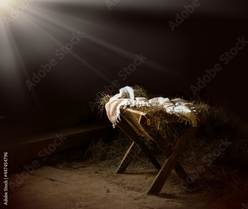 Fotografie, Obraz Manger in the stable with the linen