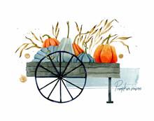 Pumpkin Cart Watercolor Hand Drawn Card Template