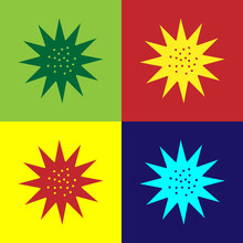 Pop Art Sea Urchin Icon Isolated On Color Background. Vector.