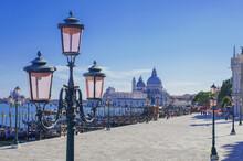 Renaissance Pink Street Lights On The San Marco Promenade In Venice