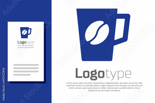 Fototapeta Blue Coffee cup icon isolated on white background