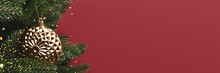 Banner With Gold Metallic Christmas Bauble. New Year Decoration In Front Of Red Background With Copyspace.
