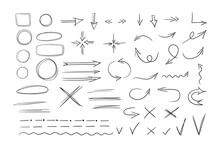 A Set Of Selection Elements In A Hand-drawn Doodle Style. Arrows, Directions, Strokes, Ticks, Strikethroughs, Underlines. Vector Illustration Isolated On White Background