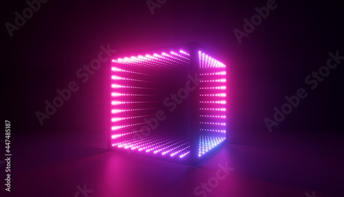 Tablou Canvas 3d render, abstract neon background with cube box