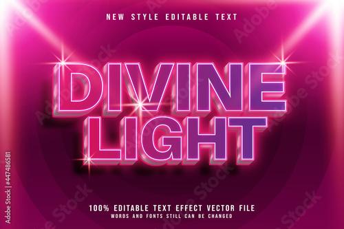 Fotografiet divine light editable text effect 3 Dimension emboss modern neon style