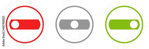 Photo Icon im Kreis: Schalter ein, neutral und aus
