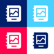 Album Blue And Red Four Color Minimal Icon Set