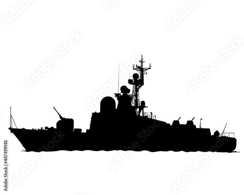 Canvastavla Large warship is sailing on the sea