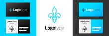 Blue Line Fleur De Lys Icon Isolated On White Background. Logo Design Template Element. Vector