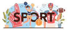 Sport Typographic Header. Physical Education Or School Class. American Football