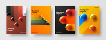 Abstract Realistic Balls Booklet Concept Collection. Amazing Journal Cover A4 Design Vector Illustration Bundle.