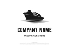 Vintage Retro Cargo Ship Vessel Transportation Logo Design Vector