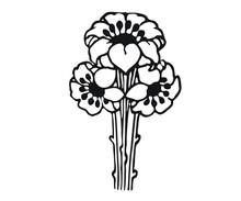 Black White Flower Pattern Design Icon Templates Illustration Vector