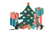 Cute And Funny Christmas Card. An Elegant Christmas Tree And A Lot Of Gifts Around, As Well As Pets Like A Cat And A Dog Near The Tree Are Waiting For Christmas Night.