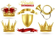 Realistic Heraldic Symbols. Golden Crowns, King And Queen Gold Diadem. Trumpet, Shield And Ribbons Royal Vintage Vector Decoration