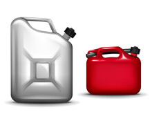 Gasoline Canister Realistic 3D Vector Illustration