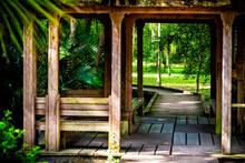 Wooden Boardwalk Gazebo In Marsh Swamp In Paynes Prairie Preserve State Park In Gainesville, Florida During Spring Or Summer With Nobody