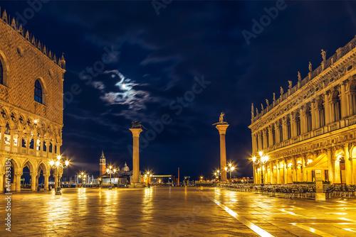 Fototapeta St. Mark's Square in Venice on a moonlit night. Italy