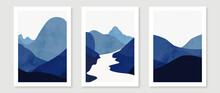 Boho Decor, Minimalist Mountain Wall Art, Blue Landscape Print, River Landscape Art Print, Mountains Poster Minimalist Art, Printable Wall Art