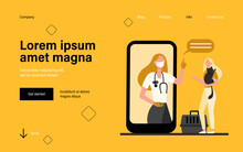 Veterinarian On Smartphone Screen Consulting Woman With Cat. Vet, Online, Consultation Flat Vector Illustration. Domestic Animals And Veterinary Concept For Banner, Website Design Or Landing Web Page