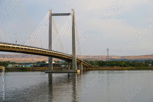 Cable bridge over Columbia river in Washington State #447549704