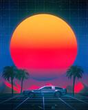 Retro vaporwave synth arcade starry sunset grid landscape
