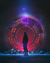 Glowing Portal Construction Futuristic Travel Exploration Scene