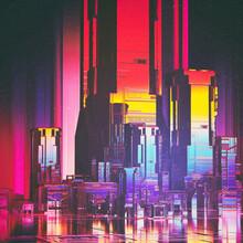 Rainbow Reflections Retro Tech City Comic
