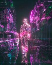 Virtual Reality Vaporwave Arcade Neon Geometric Avatar
