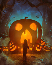 Spooky Halloween Forest With Lit Pumpkins - Autumn Child Fantasy