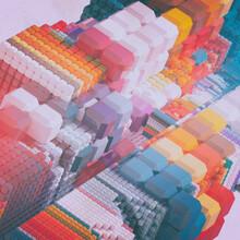 Vintage Tech Gem Growth With Rainbow Retrowave Building Blocks