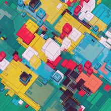 Retro Cartoon Colorful Chip Building Board Grid