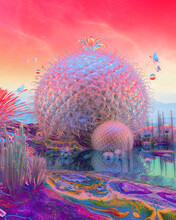 Psychedelic Vaporwave Surreal Oasis Planet With Rainbow Plants