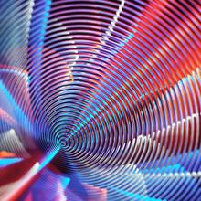 Neon Spiral Glowing Metallic Warp Tunnel