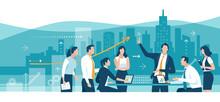 Business Illustration. Teamwork Meeting Concept. Vector Illustration.