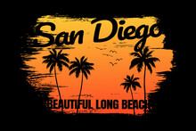 Sunset Beach San Diego Beautiful Retro Style
