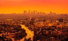 LA Freeway And Skyline At Sunset