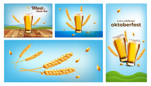 Set Of Vector Illustration Of  Crafted Beer For Oktoberfest