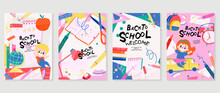 Back To School Vector Banners. Background Design With Children And Education Accessories Element. Kids Hand Drawn Flat Design For Poster , Wallpaper, Website And Cover Template.
