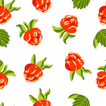 Seamless Pattern With Yellow Berries On A White Background. Raspberries, Blackberries. Great For Packaging Design, Textiles, Paper, Tea, Decals.