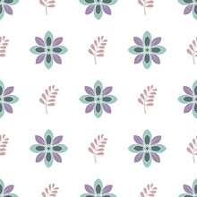 White And Pastel Green And Purple Floral Themed Seamless Repeating Pattern. Beautiful Vector Design, Perfect For Fabric, Wrapping Paper, Wall Paper, Home Decor, Quilting, Sewing Projects And Apparel.