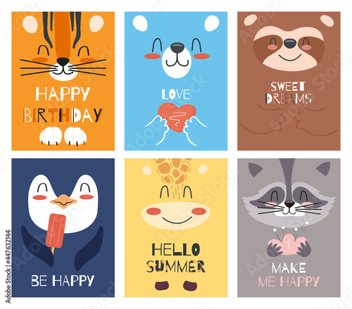 Fototapeta premium A set of children's cards or invitations with cute cartoon animal faces. Vector illustration of wild animals for kids