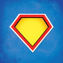 Superhero Blank Symbol Background. Yellow And Red Comic Hero Icon On Textured Blue Background.