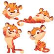 Cute tiger cartoon character, funny animal cub